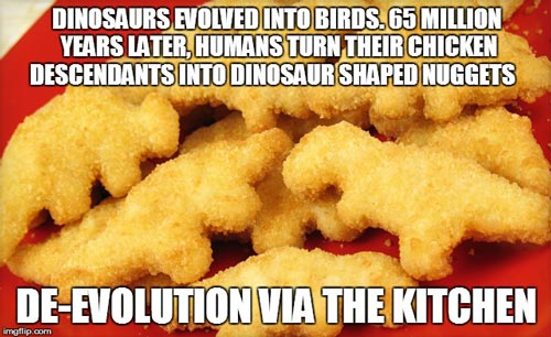 Chicken nugget meme dinosaur deevolution
